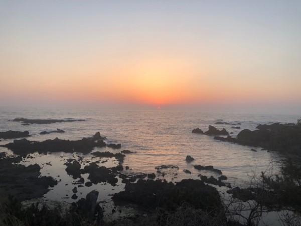 日本海に沈む夕日@相川